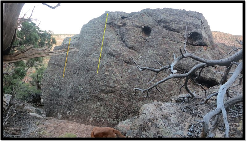 Rock Climbing Photo: Faded Midget problem beta in yellow.