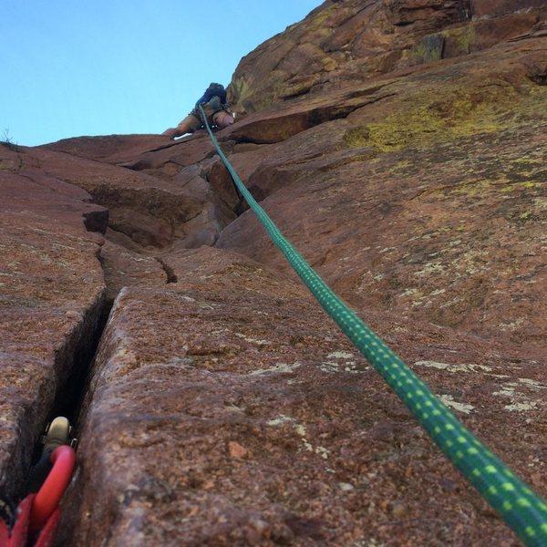 Rock Climbing Photo: Heading Up Bastille Crack