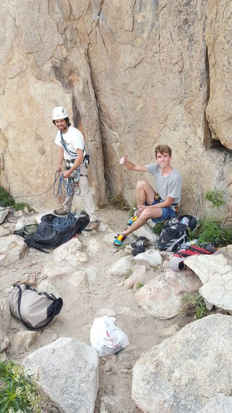 Me, Brandon, and Ben Getting ready to warm up on Coyoty Crag (2015)