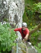 Rock Climbing Photo: P.Ross coming up the first pitch  climbing with Ro...