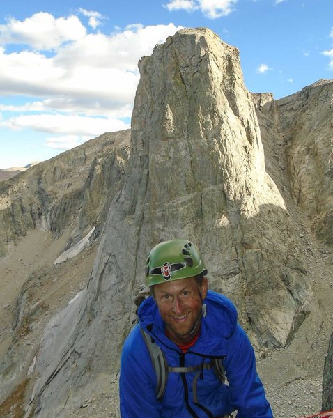 Mike Lilygren at the top of pitch 5. The North Face of the Monolith is in the background.