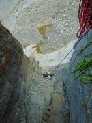 Rock Climbing Photo: Mandy Fabel in the serious pitch 5 chimney.