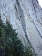 Anders Ourom photo.  Brette Harrington leading, Marc Andre at the belay
