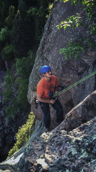 On the rappel.
