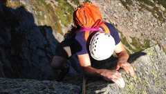 Rock Climbing Photo: pulling out of the crux, pitch four.