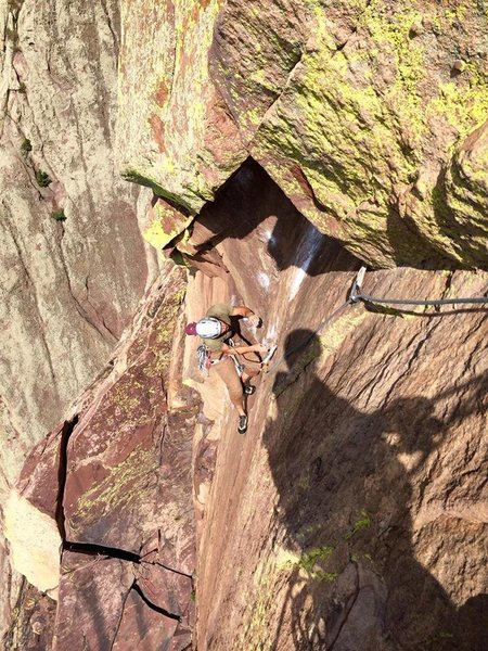4th pitch dihedral below the Bombay roof chimney.<br> <br> Photo credit: Patrick Heddins.