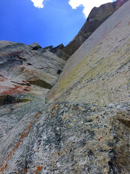 The third pitch dihedral just below the crux bulge. Photo credit Patrick Heddins