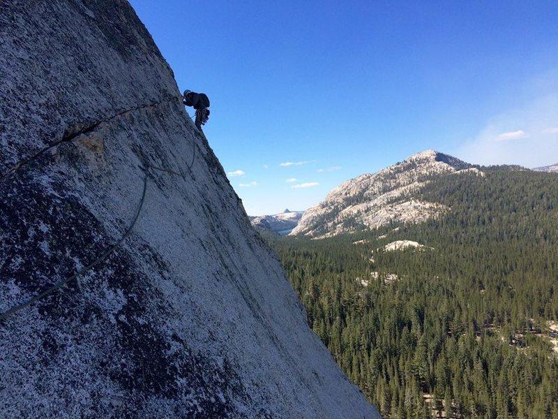 Rock Climbing Photo: The second pitch traverse. Photo credit Patrick He...