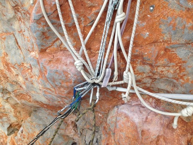 Bomber(?) anchor at the first belay of Orange Chandeliers.