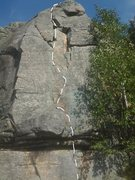 Rock Climbing Photo: Excellent short route, starts by pulling the large...