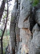 Rock Climbing Photo: Follow crack just left of white dotted line.