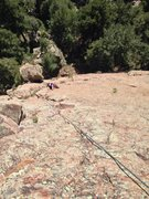 Rock Climbing Photo: Sky making the moves on p2!