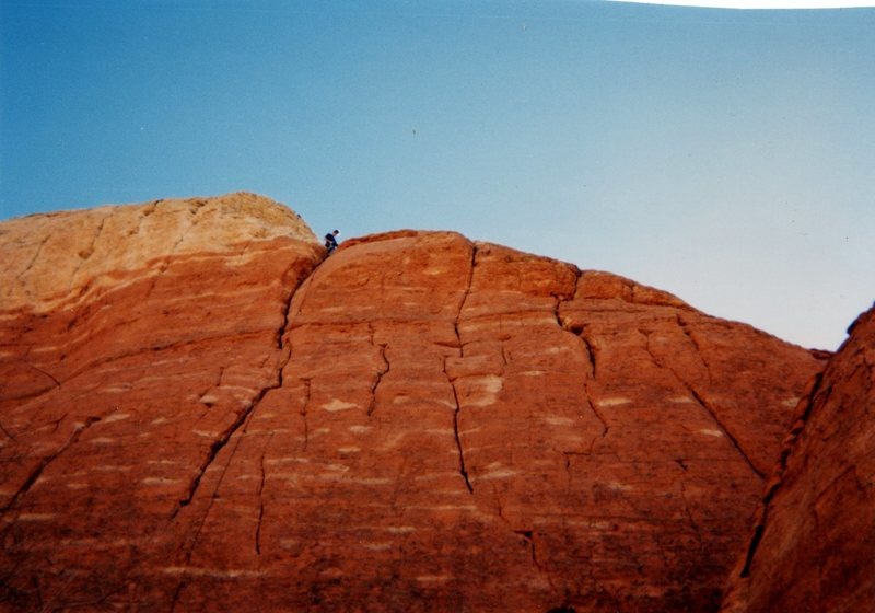 Rock Climbing Photo: bolt route (with climber) and ring leader (crack a...
