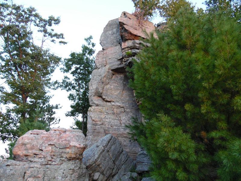 Striking chossy rock in the early fall sunlight