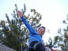 Rock Climbing Photo: Candy, age 60, finishes a stellar performance on B...