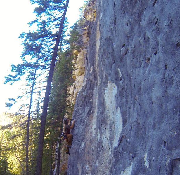 Rock Climbing Photo: Lee luvs Donut Holds, 5.10b