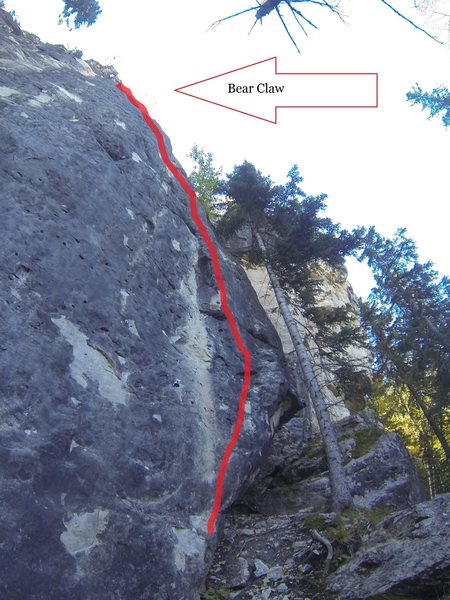 Climb the feature on the right.