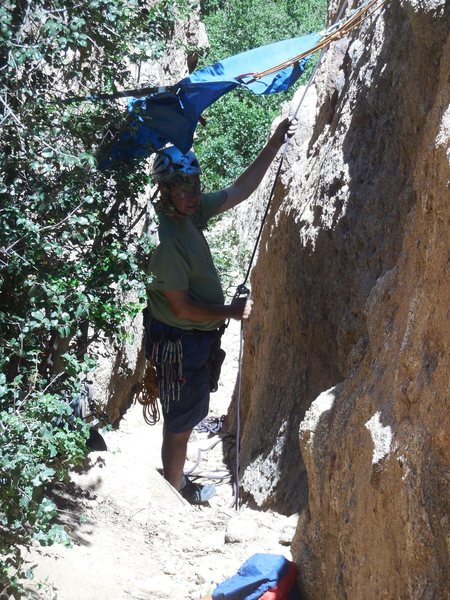 Beating the heat in The Canyon in July. If shade can't be found...create your own.