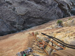 Rock Climbing Photo: Back on the route proper after the traverse pitch.