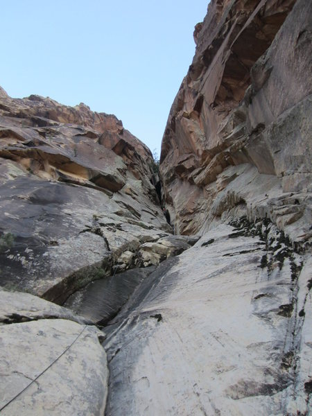 Rock Climbing Photo: Looking up at the first rap gulley.