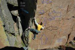 Rock Climbing Photo: Arrows designated theoretical placements.  Rap bol...