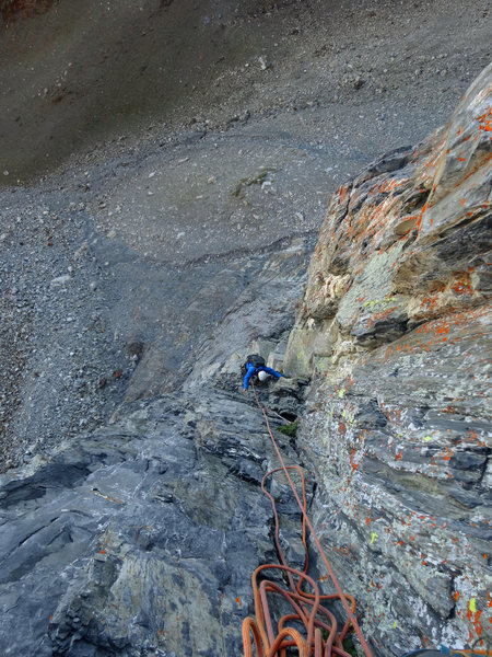 Looking down from the top of the second pitch.