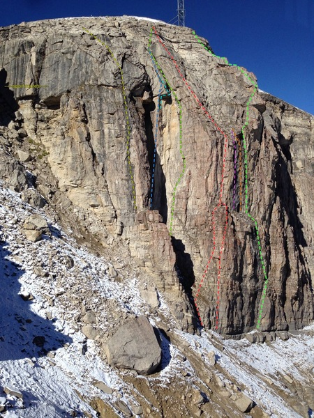 Rock Climbing Photo: left to right: Corbet's Couloir, sport routes, unk...