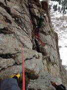 Rock Climbing Photo: Pitch two just above the three opening bolts.