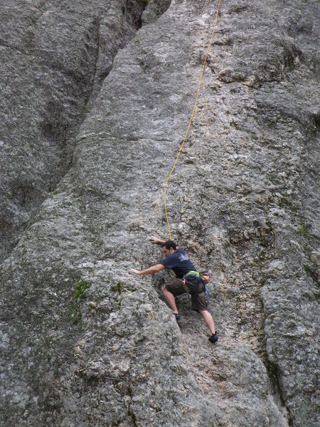 Mason climbing Better than pool and pie. First climb in South Dakota.