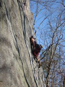 Rock Climbing Photo: Erica going for the slab dyno