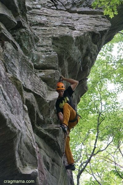 Rock Climbing Photo: Steve clipping at the start of the steep bit