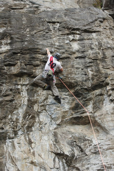 """Climber on the 1st route on the right side of """"5.13 Wall - Left Side"""""""