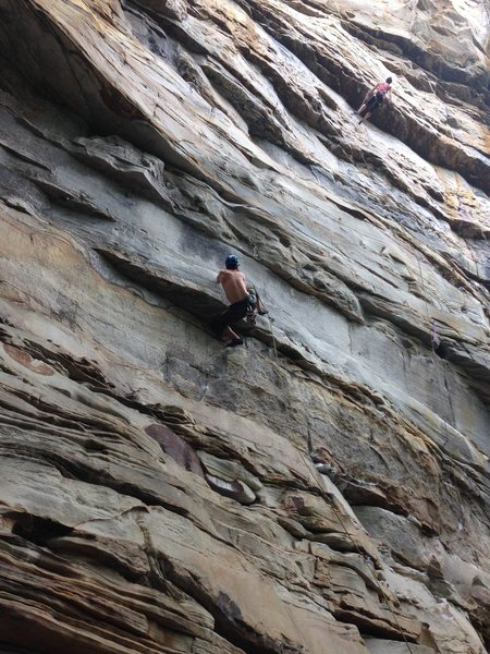 setting up for the early crux move