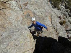 Rock Climbing Photo: My 1st lead - Night Moves on the Bihedral Upper Ti...