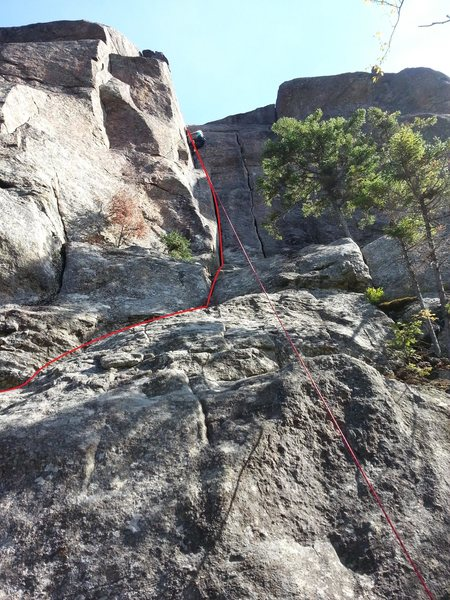 Rock Climbing Photo: My girl friend at the end of the dulfer section.  ...