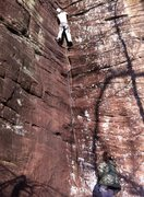 Rock Climbing Photo: At least the feet were dry (the crack definitely w...