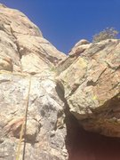 Rock Climbing Photo: Looking up to second belay. You can belay on ledge...