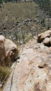 Rock Climbing Photo: Looking down from second belay at other possible b...