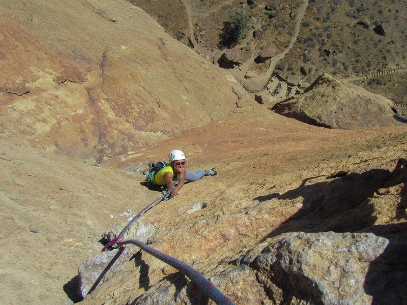 Rock Climbing Photo: Pitch 4 of Zebra Zion, Smith Rock.