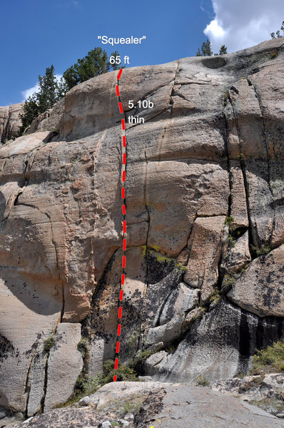 """Rock Climbing Photo: Line of the """"Squealer"""" crack"""