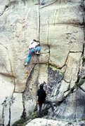 Rock Climbing Photo: Marc Hill belaying Dave Caunt on the FA of the Squ...
