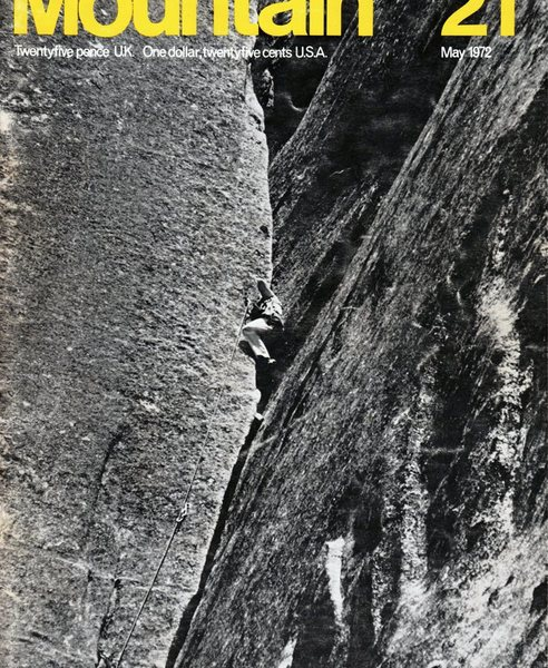 Tom Higgins at the crux of the route ( from 1972 climbing mag)