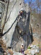 Rock Climbing Photo: Max leading Sonja, belayed by Alissa.