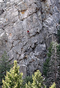 Rock Climbing Photo: Unknown climber on what I believe is Fire and Rain...