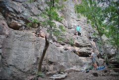 Rock Climbing Photo: Eric leading Beginner's Luck.