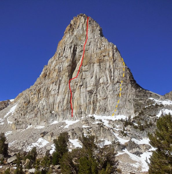 Red - Brutus of Wyde Memorial Route (IV-V 5.11- or 5.10 C1)<br> Orange - Parasitic Nematode (IV 5.10+)