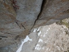 Rock Climbing Photo: Looking down at the handcrack