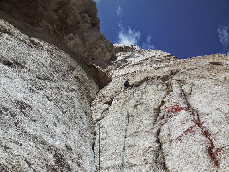 Rock Climbing Photo: Belay above the 5th or 6th pitch