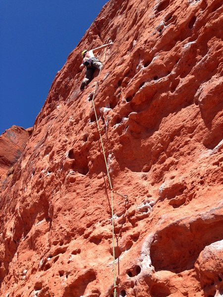 Nearly redpointed. Top crimps were the hold-up. Very fun Route.