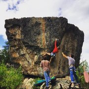 Rock Climbing Photo: Liz Mallett working out the sequence of Hot Steppe...